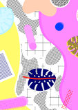 Background in retro style, memphis,. 80`s, from the leaves of palm trees, geometry, circles, waves, lines, mesh, with bright flowers size A4 royalty free illustration