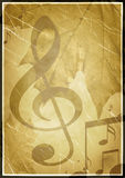 Background in retro - style, with musical symbols Stock Images