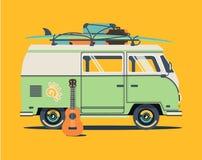 Background retro travel van. Vector summer illustration with car. Background retro travel van Royalty Free Stock Photos