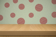 Background with retro wallpaper and empty wooden table Royalty Free Stock Photo