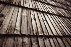 Slant wooden shingle roof Stock Photos