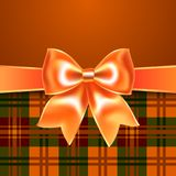 Background with ribbon bow. Background with ribbon orange bow, 10eps. Perfect as invitation or congratulation vector illustration