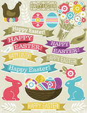 Background with ribbon, easter eggs, rabbit Royalty Free Stock Images
