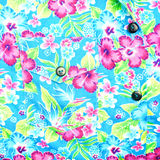 Background of right pocket on blue shirt flower pattern Royalty Free Stock Photo
