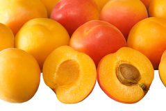 Background with ripe apricots on white Royalty Free Stock Photography