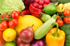 Background of ripe fruit and vegetables Royalty Free Stock Images
