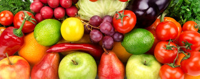background of ripe fruit and vegetables Royalty Free Stock Photos