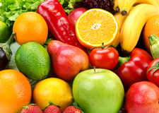 Background of ripe fruits  and vegetables Royalty Free Stock Photo