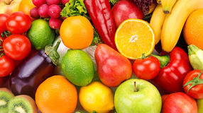 background of ripe fruits  and vegetables Stock Photography