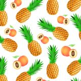 Background with ripe tropical fruits - pineapples and peaches vector illustration