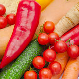 Background of ripe vegetables and herbs Royalty Free Stock Photo