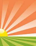 Vector background with rising sun Stock Photography