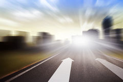 Background Of Road With Arrow And Motion Blur Royalty Free Stock Photo