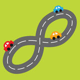 Background with road in shape of infinity sign and. Cartoon cars. Vector illustration royalty free illustration