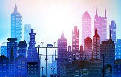 Background with roads, bridges and cars. Modern skyscrapers of the big City. Background with roads, bridges and cars. Modern skyscrapers of the big City Stock Image