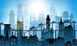 Background with roads, bridges and cars. Modern skyscrapers of the big City. Background with roads, bridges and cars Stock Photo