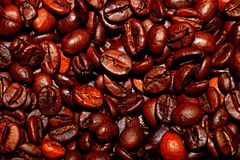 Fried coffee beans. Background stock images
