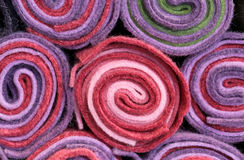 Background of rolls of cloth and felt for sale Royalty Free Stock Photo