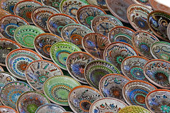 Background with Romanian traditional ceramic in the plates form Stock Photos