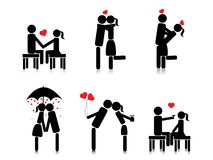 Background with romantic couple silhouette Stock Image