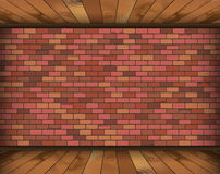 Background room with bricks and wooden floor. Vector illustration vector illustration