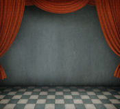 Background of the room with red curtains. Stock Photos