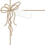 Background with rope bow and ribbons Stock Photography