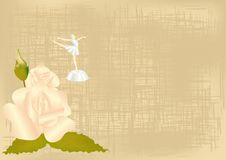 Background with a rose and a ballerina Royalty Free Stock Photos