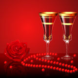 Background with rose glasses and beads Stock Images