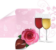 Background with rose, wine and chocolate. Royalty Free Stock Photos
