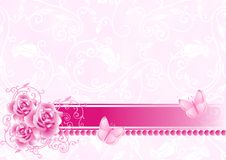 Background with roses. Celebratory background with roses, a tape and butterflies Royalty Free Stock Photography