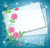 Background with roses. Magic floral background with stars and a place for text or photo Royalty Free Stock Photo