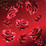 Background with Roses. Background in dark red tones with roses and leaves Stock Photography
