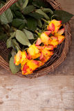 Background of roses in the basket Stock Photos