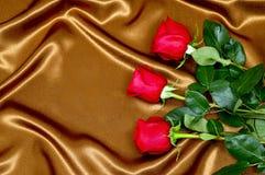 Background roses on fabric Royalty Free Stock Image