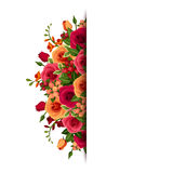 Background with roses and freesia flowers. Vector eps-10. Stock Photos