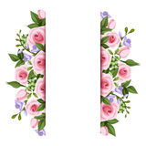Background with roses and freesia flowers. Vector. Vector background with pink roses, purple freesia flowers and green leaves Royalty Free Stock Photo