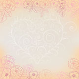 Background with roses and heart Stock Image