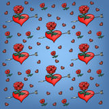 Background of roses and hearts Stock Images