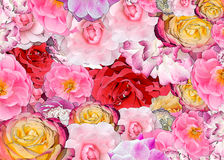 Background of roses for the holiday. Background with roses for festive decoration. A collage of different roses with the beautiful effect of the picture stock photos