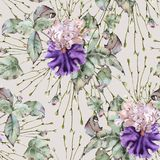 Background of roses and iris. Seamless pattern. stock photos