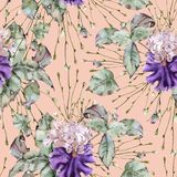 Background of roses and iris. Seamless pattern. stock image
