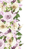Background with roses and lisianthus flowers. Vector illustration. Royalty Free Stock Images