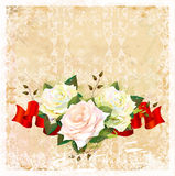 Background with roses and ribbon Stock Photo