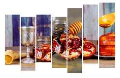 Background Rosh Hashanah Jewish New Year . Traditional Holiday Symbols - Shofar, Honey And Apple Royalty Free Stock Images
