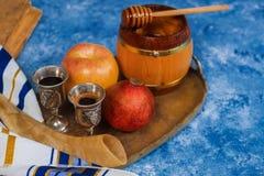 Background Rosh hashanah Jewish New Year . Traditional holiday symbols - shofar, honey and apple royalty free stock photos