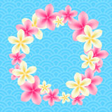 Background with a round floral frame. Stock Image