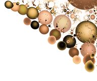 Background from round fractals on a white background. Background from round fractals of different colors and sizes, located diagonally in the corner, on a white vector illustration