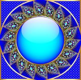 Background  round frame with the ornament of precious stones Royalty Free Stock Photo