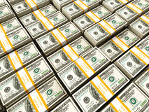 Background of rows of dollar Stock Photo